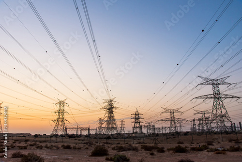 Fotografie, Obraz  Electricity overhead power lines in the desert