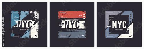Fototapeta New York City t-shirt and apparel brush style vector abstract ge obraz