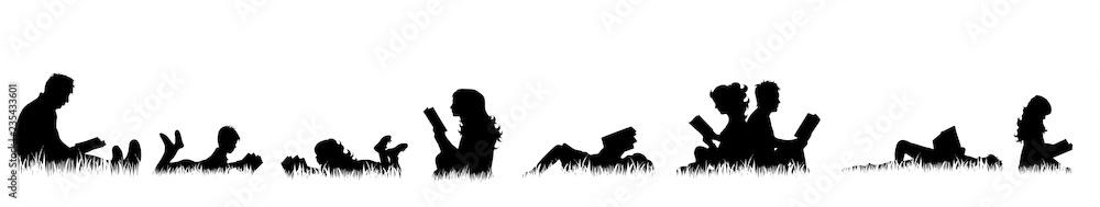 Fototapeta Vector silhouette of people who read on meadow.