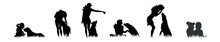 Vector Silhouette Of People With Dog White Background.