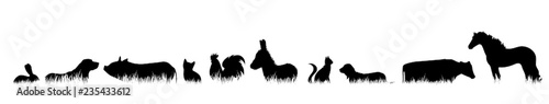 Fototapeta Vector silhouette of farm animal in the grass on white background. obraz