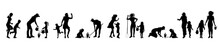 Vector Silhouette Of Set Of Family.