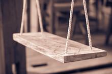 Wooden Swing And Wood Floor