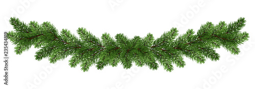 Stampa su Tela Long garland of spruce / pine branches