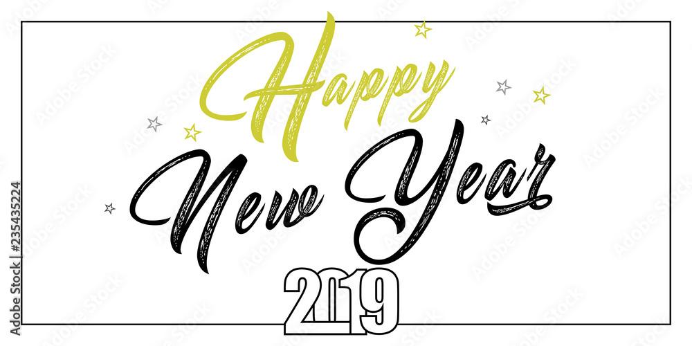 Fototapeta 2019 hand written lettering with golden Christmas stars on a black background. Happy New Year card design. Vector illustration EPS