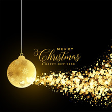 Christmas Festival Greeting With Xmas Ball And Golden Particles