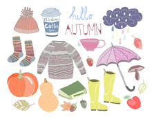 Hello Autumn. Hand Drawn Colored Doodle Vector Set. All Elements Are Isolated