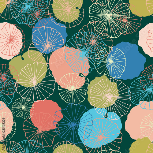 Canvas-taulu Waterlilies or lotus flowers and leaves in a pond seamless pattern background texture in a modern colorful style
