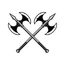 Crossed Medieval Axe. Design E...
