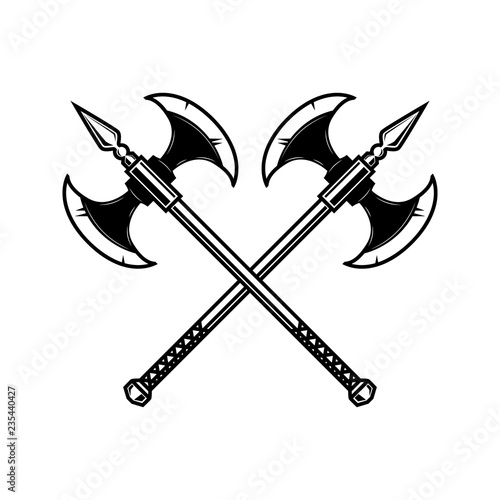 Canvas Print Crossed medieval axe. Design element for label, badge, sign.