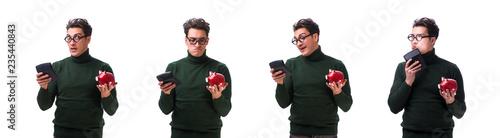 Fototapeta Nerd young man with piggybank isolated on white obraz