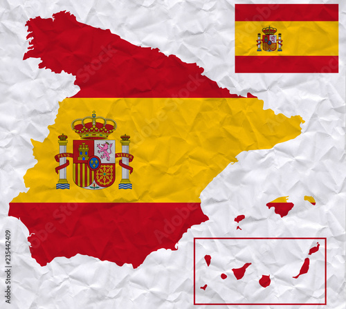 Map 24 Spain.Old Crumpled Paper With Watercolor Painting Of Spain Flag And Map