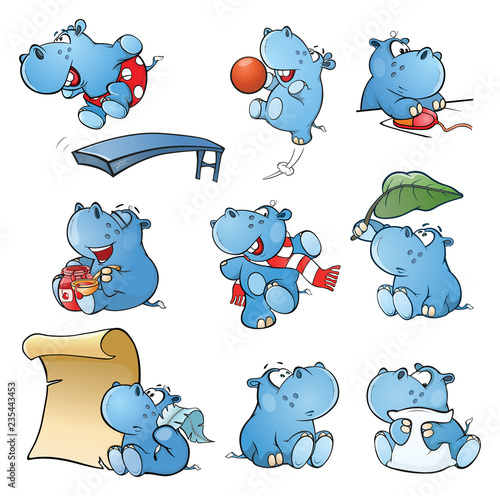 Poster Chambre bébé Set of Vector Cartoon Illustration. Cute Hippo for you Design