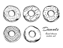 Hand Drawn Tasty Donuts. Graph...