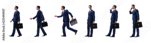Valokuva  Businessman walking standing side view isolated on white backgro
