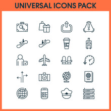 Traveling Icons Set With Fligh...