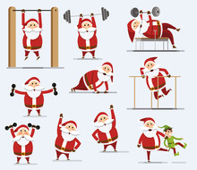 Collection Of Santa Clauses. Santa Claus With A Barbell. Santa Claus Squeezes From The Floor. Set Of Santa Claus Doing Sports. Flat Style. Vector Illustration Eps10 File
