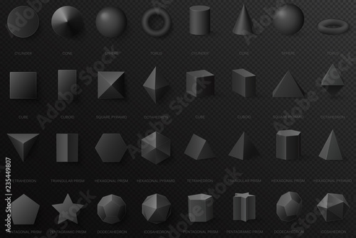 Realistic black basic geometric 3d shapes in top and front view isolated on the dark alpha transperant background.