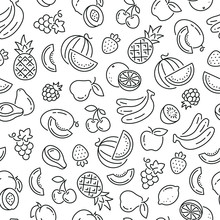 Seamless Pattern With Fruits. Black And White Thin Line Icons