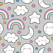 Moons Clouds Rainbows And Stars Cute Seamless Pattern, Cartoon Vector Illustration, Nursery Background For Kid