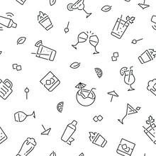 Seamless Pattern With Alcohol And Glasses. Black And White Thin Line Icons