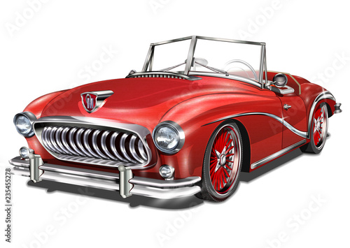 Fototapeta Retro car isolated on white background.   obraz