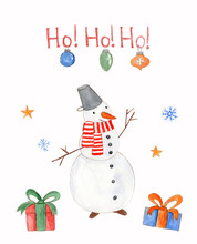 Funny Watercolor Christmas Card With Snowman, Baubles And Gift Boxes On White Background With Greeting Text. Bright Illustration For New Year Web And Banner Design, Print