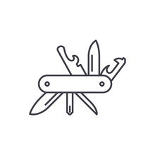 Multi Knife Line Icon Concept. Multi Knife Vector Linear Illustration, Symbol, Sign