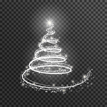 Christmas Tree On Transparent Background. White Light Christmas Tree As Symbol Of Happy New Year, Merry Christmas Holiday Celebration.