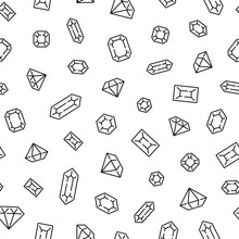 Seamless Pattern With Diamonds. Black And White Thin Line Icons