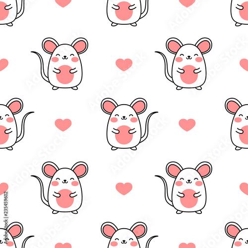 Mouse pattern, Cute cartoon mice seamless pattern background, vector illustratio Wallpaper Mural