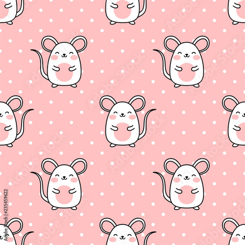 Photo  Mouse pattern, Cute cartoon mice seamless pattern background, vector illustratio