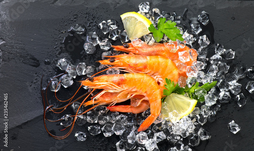 Shrimps. Fresh prawns on a black background. Seafood on crashed ice with herbs. Healthy food, cooking