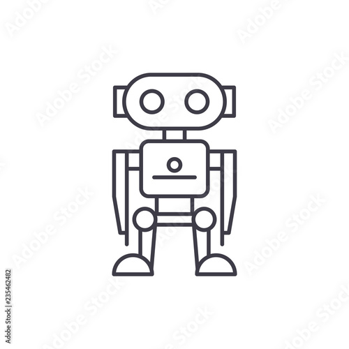 Robot line icon concept  Robot vector linear illustration