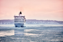 Ferry To Scandinavia. Cruise Ship. Nature Of The Fjord And Ice