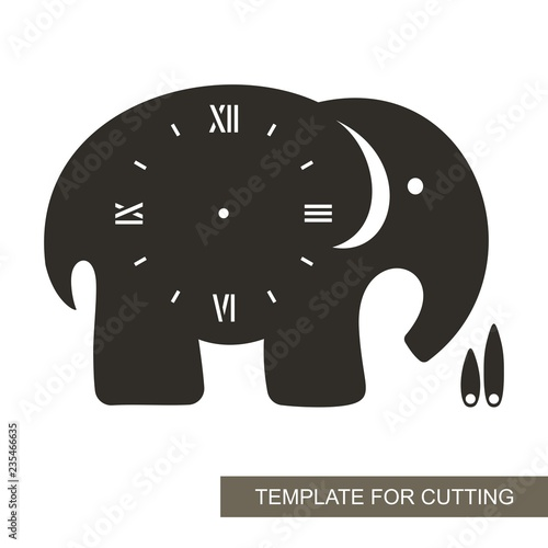 Dial With Arrows And Roman Numerals Elephant Shape Silhouette Of