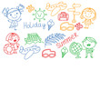 Vector pattern with children icons. Summer vacation at seashore, sea, ocean, beach. Small kids having fun.