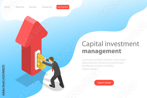 Foto  Flat isometric vector landing page template of financial investment, marketing analysis, investing opportunity
