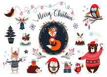 Christmas Elements Collection With Cute Winter Items, Vector Design
