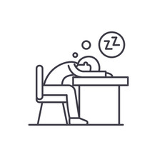 Tired At Work Line Icon Concep...