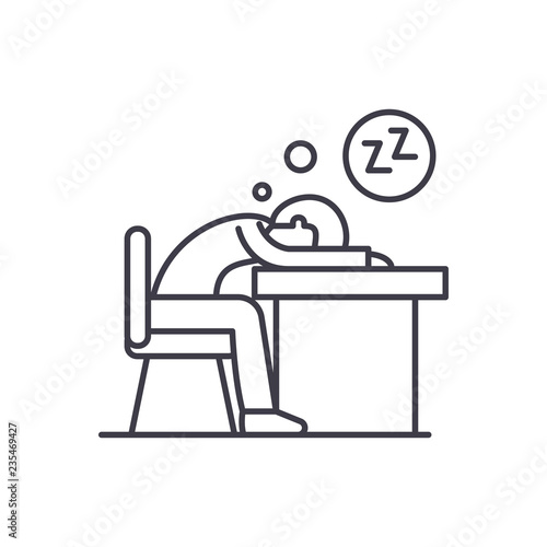 Obraz Tired at work line icon concept. Tired at work vector linear illustration, sign, symbol - fototapety do salonu