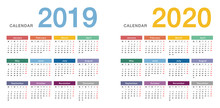 Colorful Year 2019 And Year 2020 Calendar Horizontal Vector Design Template, Simple And Clean Design. Calendar For 2019 And 2020 On White Background For Organization And Business. Week Starts Monday.