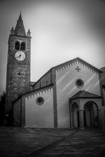 Church With Bell Tower On Sunset In Black And White