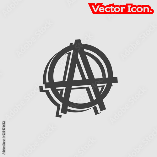 Fotografie, Obraz  Anarchy icon isolated sign symbol and flat style for app, web and digital design