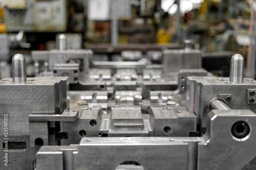 Fototapeta High precision die mold for casting automotive aluminium parts make with iron me