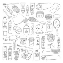 Hygiene Doodle Set Of Bathroom Equipment, Cosmetics And Tools
