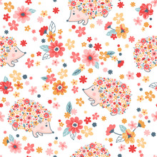 Seamless Childish Floral Pattern With Flowers And Cute Hedgehogs
