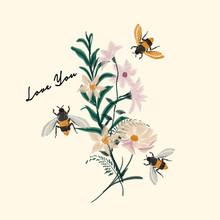 Bumble Bee And Flower Embroidery Vector Design, Vintage Fashion