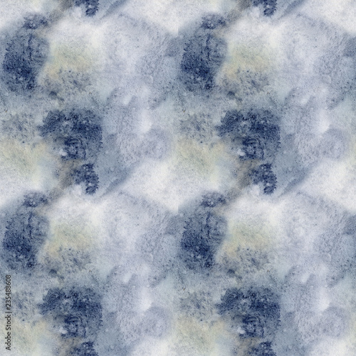 Stickers pour portes Eau Watercolor blue winter abstract pattern. Hand painted blue, navi and yellow spots. Holiday background for design, print, fabric