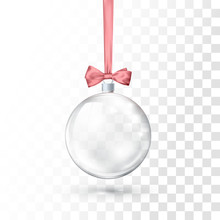 Glass Transparent Christmas Ball Hanging On Pink Ribbon With Bow. Xmas Glass Ball On Transparent Background. Holiday Decoration Template. Vector Illustration